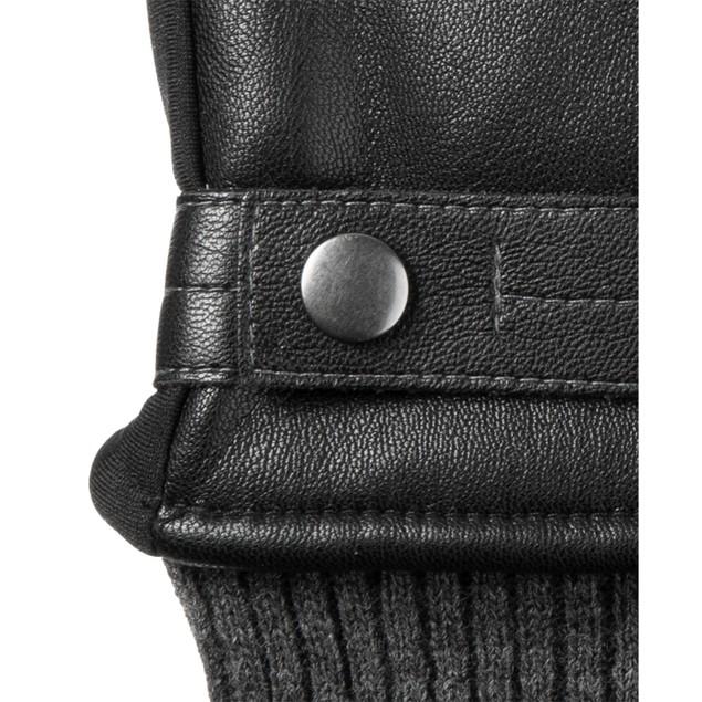 Isotoner Signature Men's Faux Leather Sleekheat Gloves Black Size Large