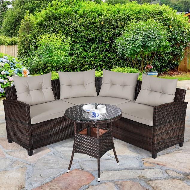 Costway 4PCS Outdoor Patio Rattan Furniture Set Cushioned Sofa Table