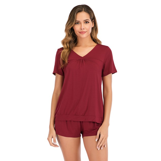 Haute Edition V-Neck Tee and Matching Short Lounge Pajama Set with Plus
