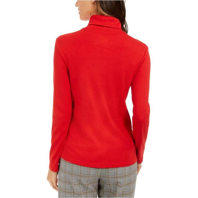 Charter Club Women's Pima Turtleneck Top Medium Red Size Large