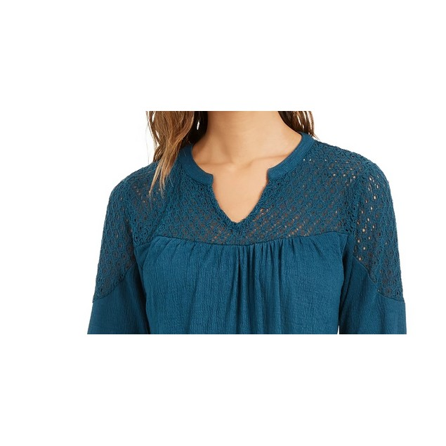 Style & Co Women's Crochet-Yoke Top Green Size Extra Small