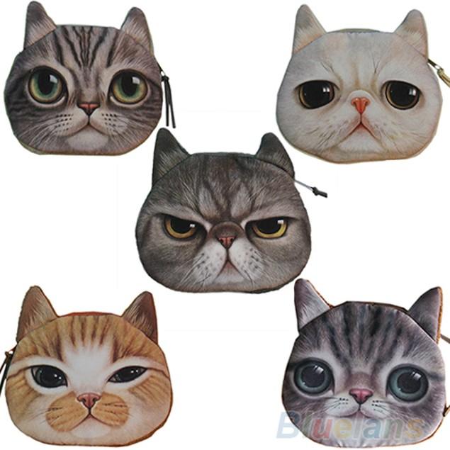 New Cute Cat Face Zipper Case Coin Purse