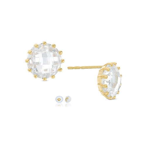 10K Solid Yellow Gold  Round 12 Prong Crystal Stud Earrings