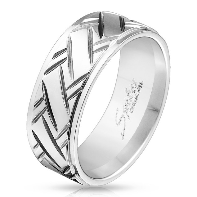 Diamond Cut with Stepped Edge Stainless Steel Ring