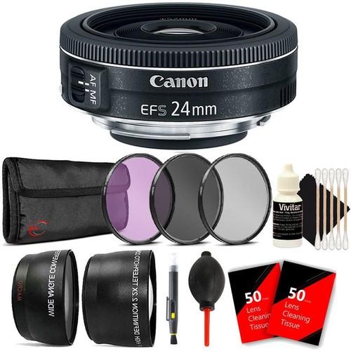 Canon EF-S 24mm f/2.8 STM Lens  + 52mm Filter Kit + Telephoto & Wide Angle Lens + Lens Pen + Dust Blower + 100 Lens Tissue + 3pc Cleaning Kit