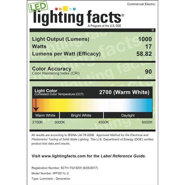 "Commercial Electric 9"" 120 W Brushed Nickel LED Mushroom Flush Mount Light"