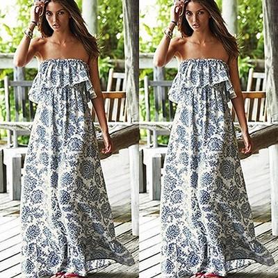 Boho Floral Print Off the Shoulder Dress