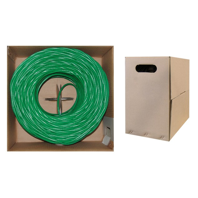 Plenum Cat6 Bulk Cable, Green, Solid, UTP , CMP, 23 AWG, Pullbox, 1000 foot