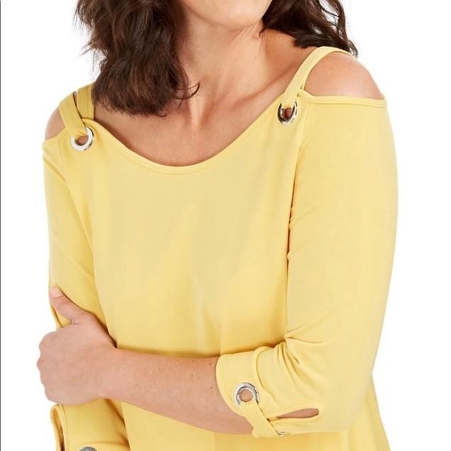 JM Collection Women's Grommet Cold Shoulder Tunic Gold Size Medium
