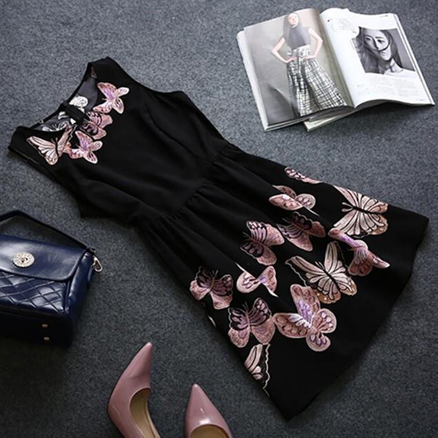 Women Summer Sleeveless Butterfly Pattern Dress