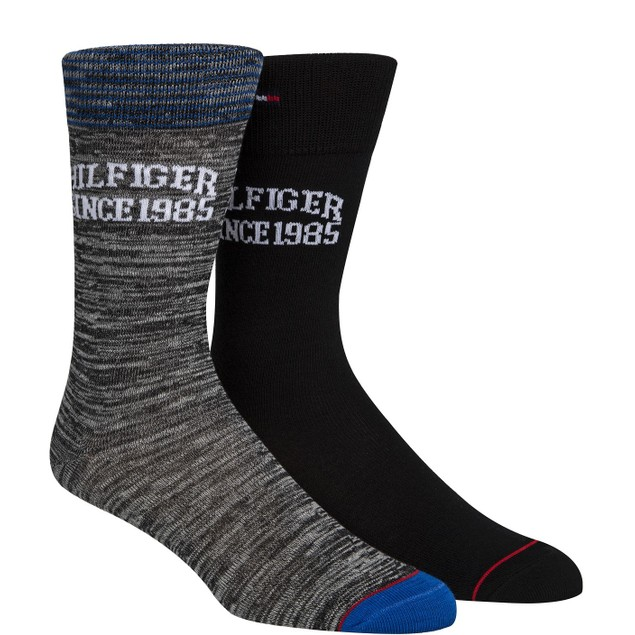 Tommy Hilfiger Men's 2-Pk. Logo Socks Black Size Regular