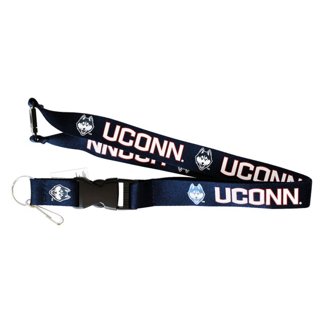 UCONN Huskies Connecticut Lanyard Keychain Badge Holder NCAA - Black