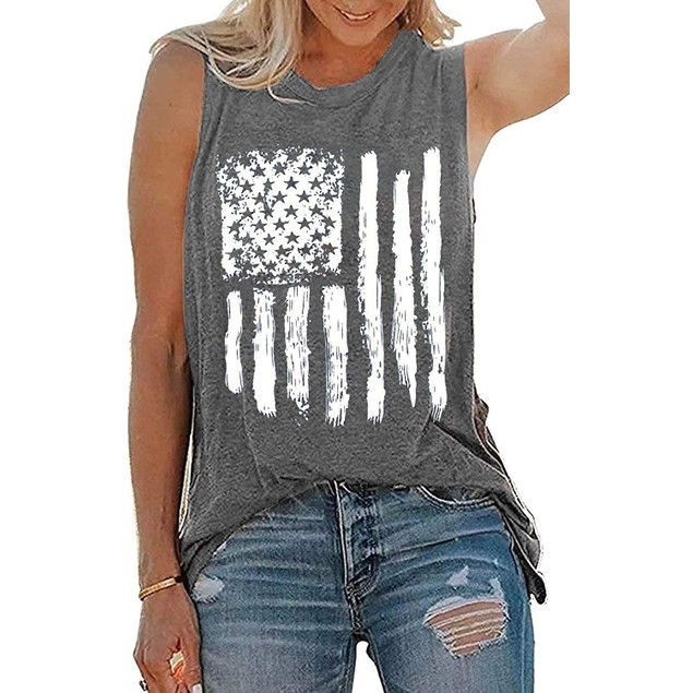 Haute Edition Women'sUSAAmerican Flag 4th of July Casual Loose Fit Tanks With Plus