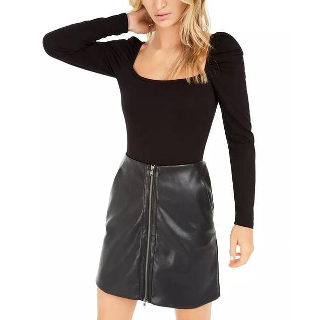 Bar III Women's Becca Tilley X Puff Sleeve Bodysuit Black Size X-Small