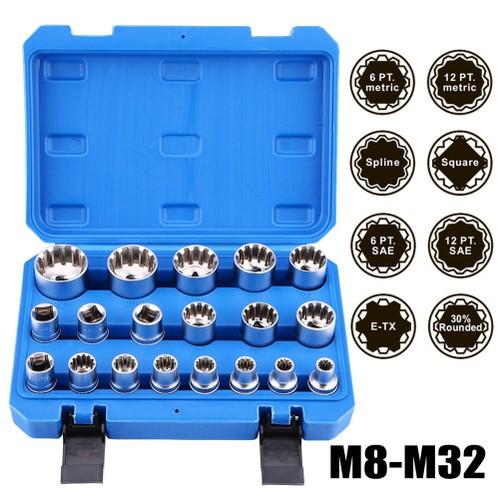 """19Pcs 1/2"""" Drive 6 12 Point Hex Torx Splined Bit Socket Set Repair Tool Kit"""