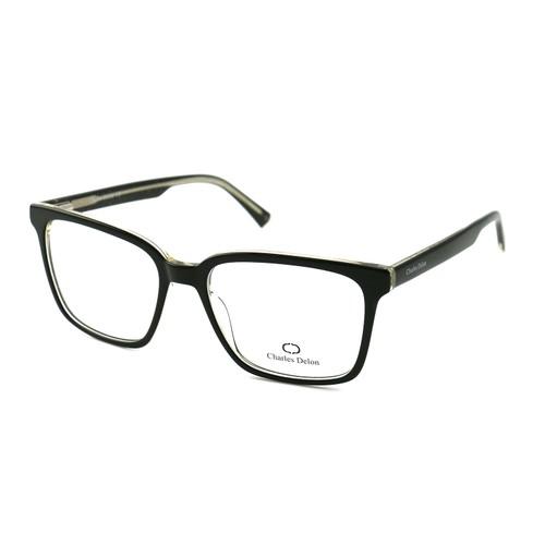Eyeglasses Unisex Black/Silver Full Rim Square 55 18 142 by Charles Delon