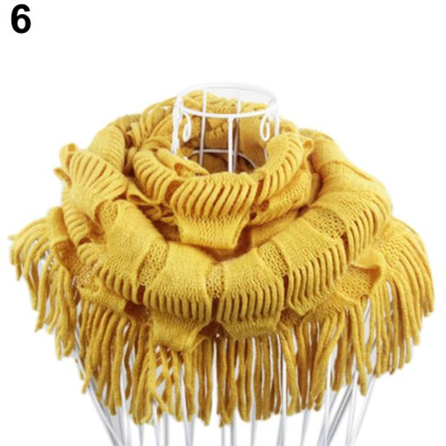 Women's Fashion Knitting Woolen Yarn Cowl Tassels Scarf