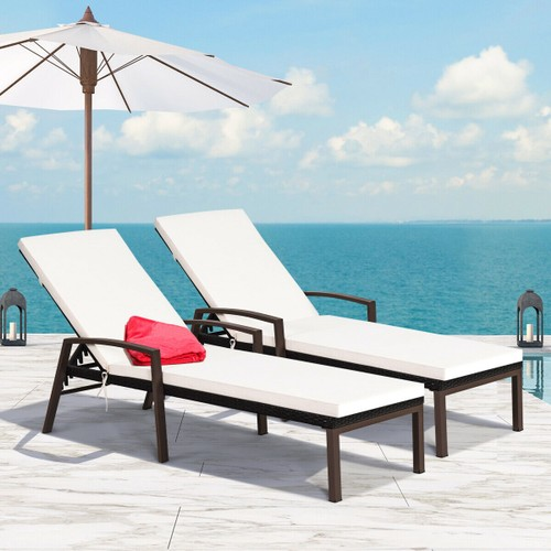 Costway 2PCS Patio Rattan Lounge Chair Chaise Recliner Back Adjustable Cush