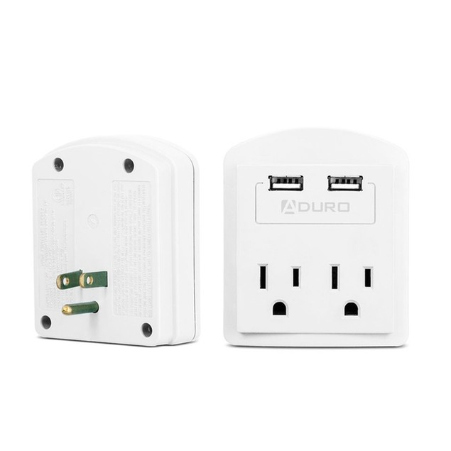 Aduro 2-Outlet Surge Protector with Dual USB Ports