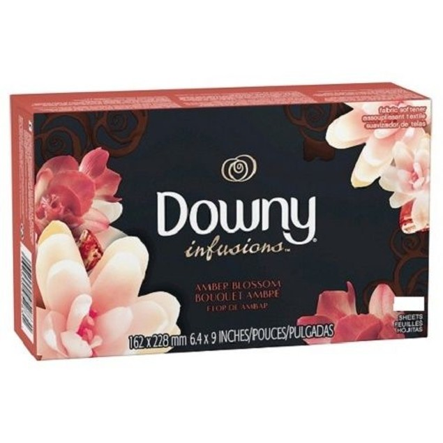 Downy Infusions Amber Blossom Fabric Softener Dryer Sheets 105 Sheets Box