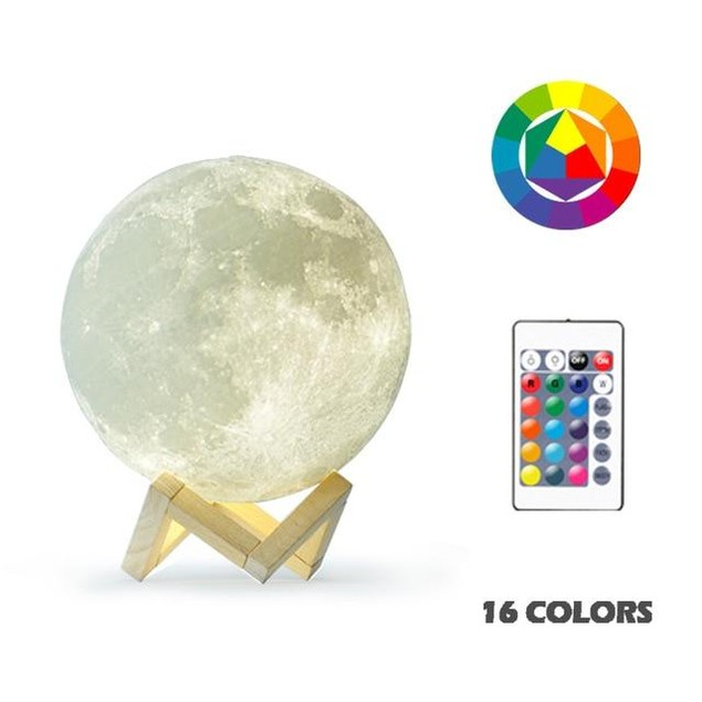3D Light-Up and Rechargeable Moon Lamp with Remote Control