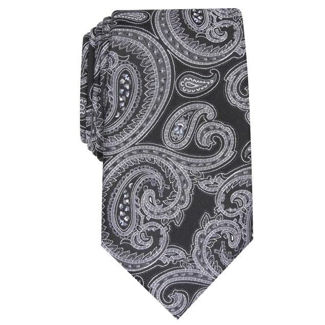 Tasso Elba Men's Paisley Silk Tie Black Size Regular