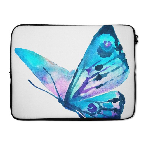 "EmbraceCase 17"" Ink-Fuzed Laptop Sleeve - Bright Graceful Butterfly"