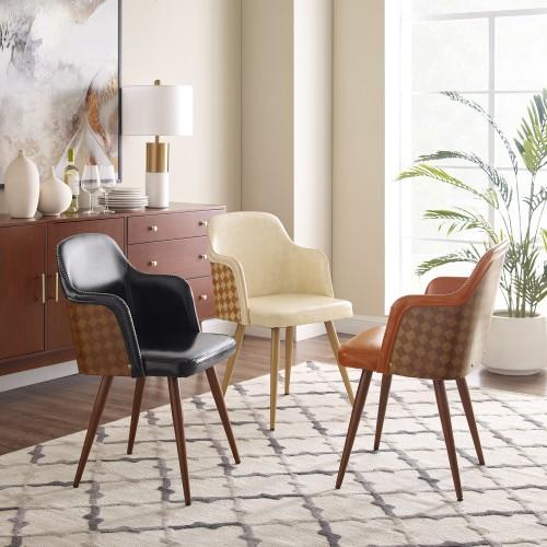 Art-Leon Retro Chess-board Back Design Accent Arm Chair