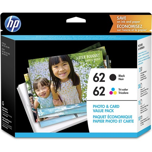 HP 62   2 Ink Cartridges with Assorted Photo Paper   Black, Tri-color   C2P04AN C2P06AN