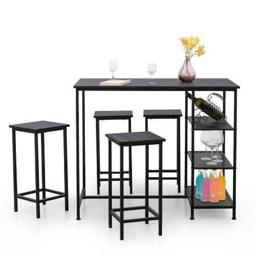 Costway 5 Piece Counter Dining Table Set Bar Pub Table Set Metal Frame Blac