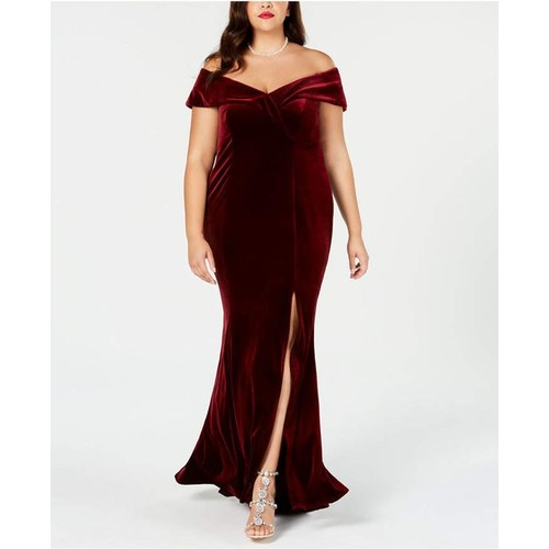 Xscape Women's Plus Size Off-The-Shoulder Velvet Gown Purple Size 14W