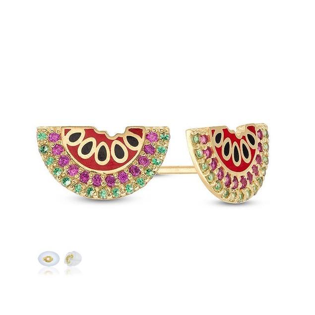 10K Yellow Gold C.Z Enamel Watermelon Stud Earrings