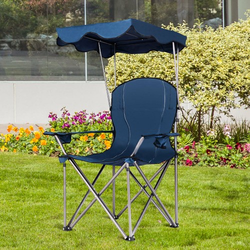 Portable Folding Beach Canopy Chair W/ Cup Holders