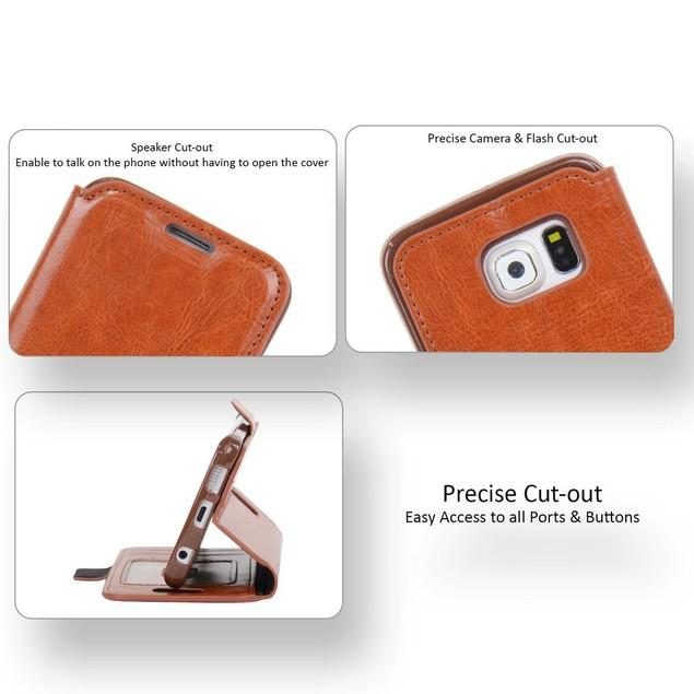 NAVOR Ultra Slim Protective Flip Wallet Case for Samsung Galaxy S6 Edge