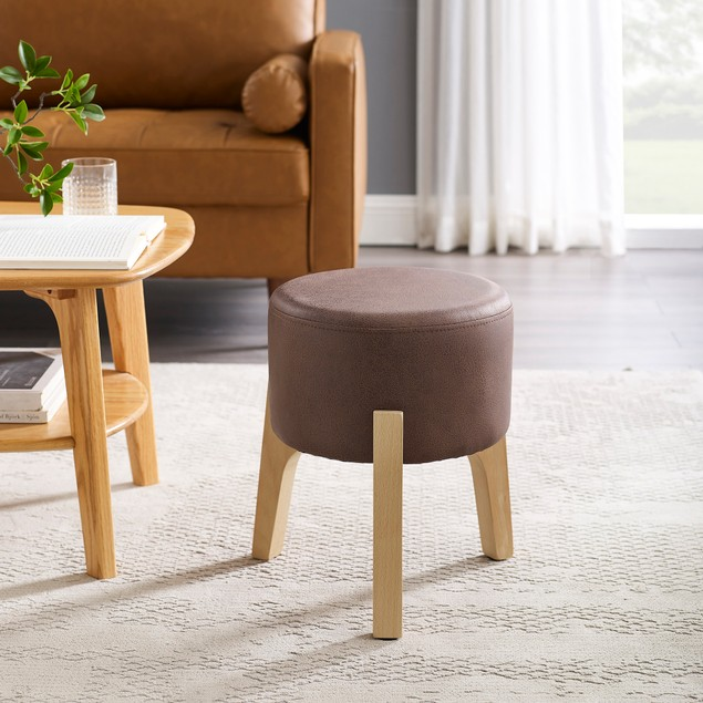Art-Leon Accent Round Upholstery Ottoman with Wooden Legs