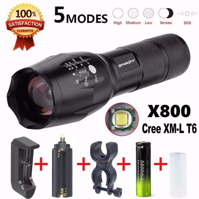 X800 Flashlight Military Torch G700 SkyWolfeye +Battery Charger+Battery
