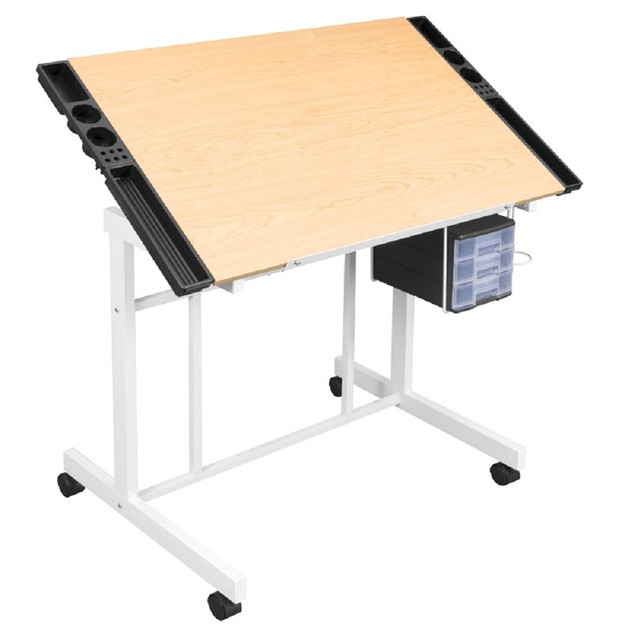 Offex Deluxe Craft Station White / Maple in UPS Box