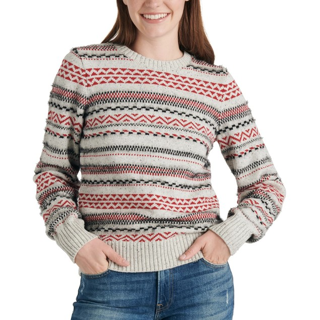 Lucky Brand Women's  Stripe Fair Isle Cotton & Wool Gray Size X-Small