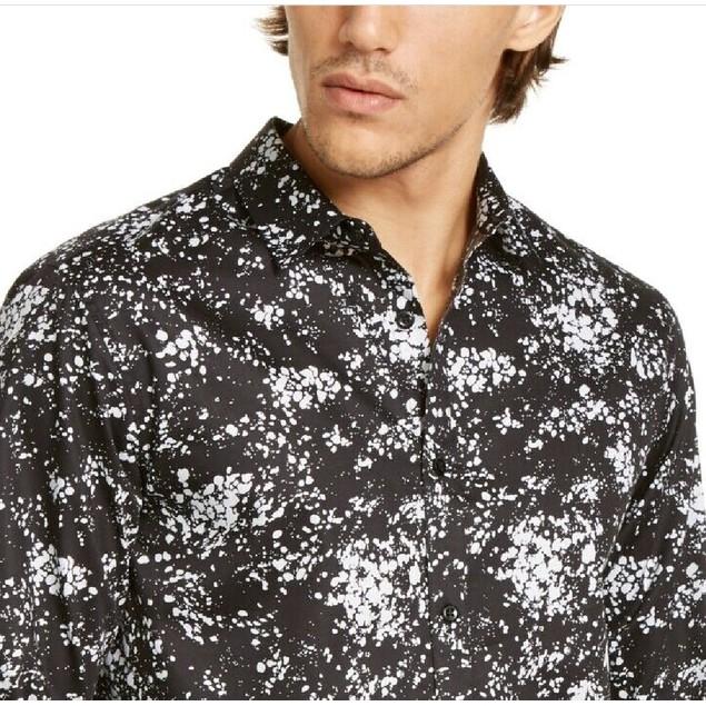 INC International Concepts Men's Miguel Splatter-Print Shirt Black Size 3XB