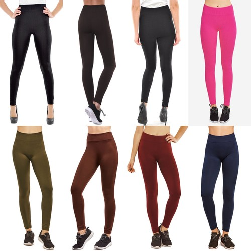 5-Pack: Women's Cozy Fleece-Lined Seamless Leggings - 2 Styles