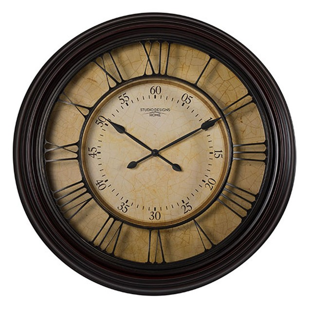 """Offex Home 29"""" Traditional Chateau Wall Clock - Dark Brown"""