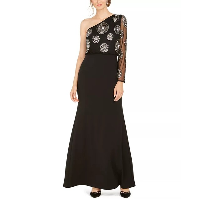 Adrianna Papell Women's Beaded One Shoulder Gown Black Size 6