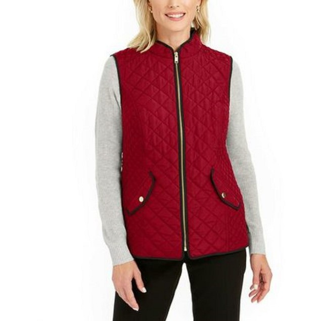 Charter Club Women's Quilted Stand-Collar Vest Medium Red Size Extra Small