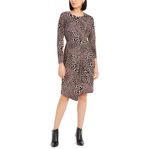 Alfani Women's Alfan Leopard Print Faux-Wrap Dress Pink Size Extra Large