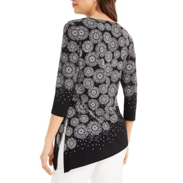 JM Collection Women's Printed Asymmetrical Hem Tunic Top Black Size X-Large