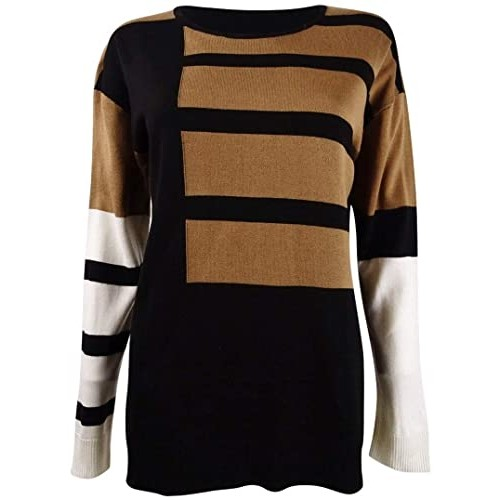 Calvin Klein Women's Colorblocked Crewneck Sweater Black Size Large