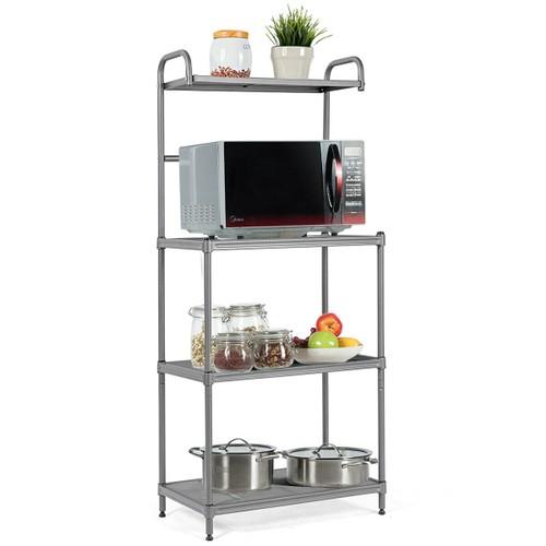 Costway 4-Tier Baker's Rack Microwave Oven Stand Shelves Kitchen Storage Ra