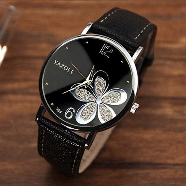 Women's Luxury Flower Crystal Round Black Wristwatch