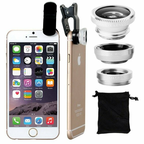 3 in 1 Wide Angle+Fish Eye+Macro Clip On Camera Lens