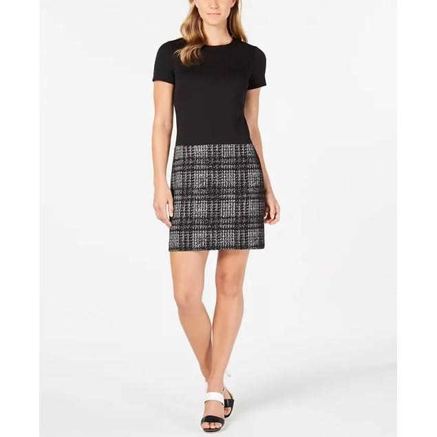Calvin Klein Women's Solid & Plaid Shift Dress Black Size 8